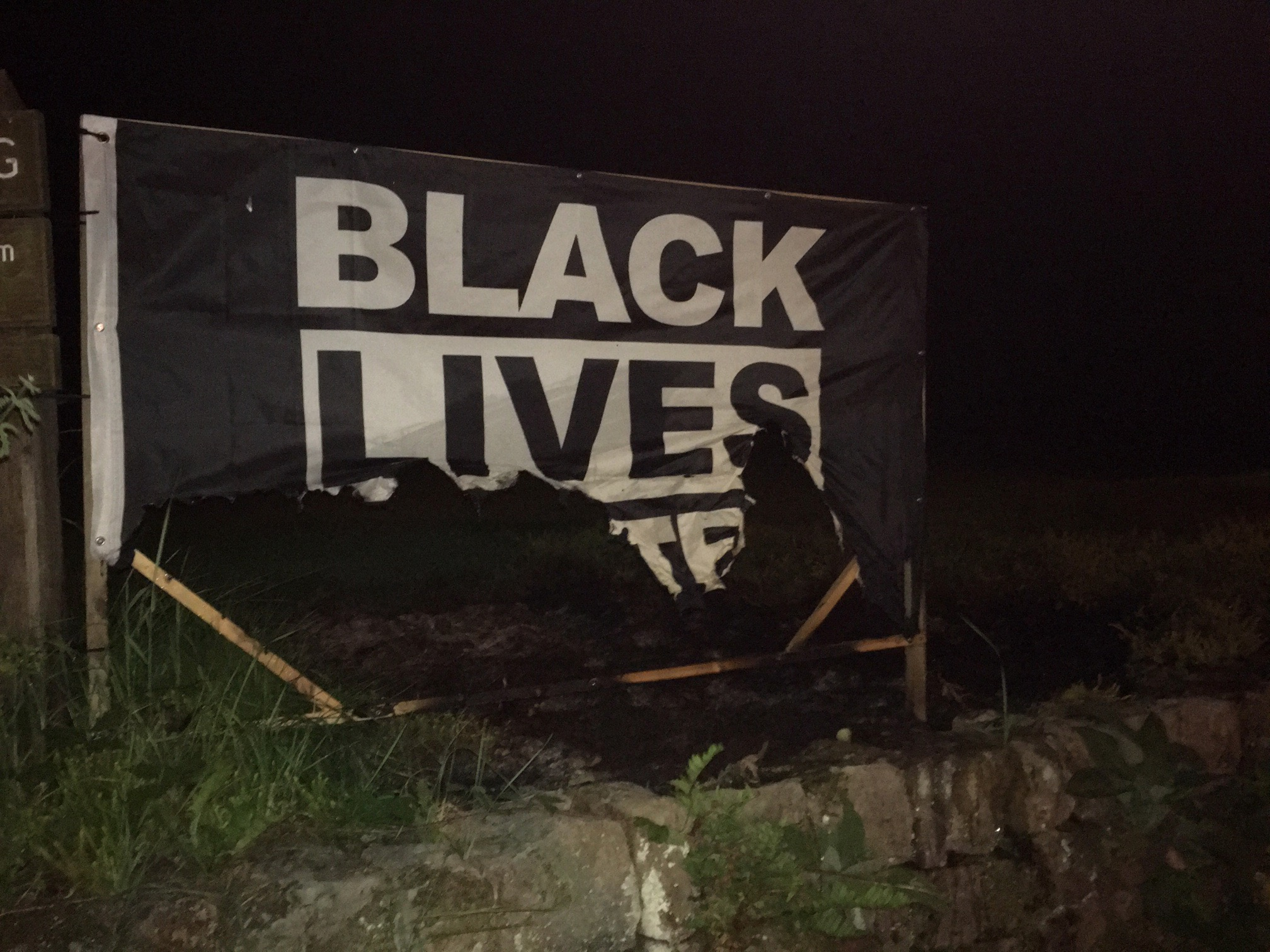 Disley Quaker Meeting BLM Banner in night of the fire, 10 August 2020